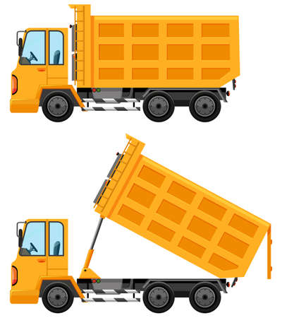 engine: Dumping trucks in yellow color illustration