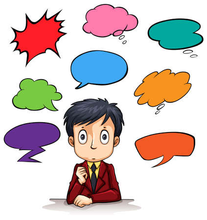 Speech bubble templates and man illustration