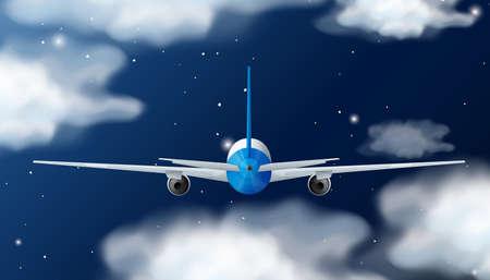 travel star: Back of airplane flying at night illustration