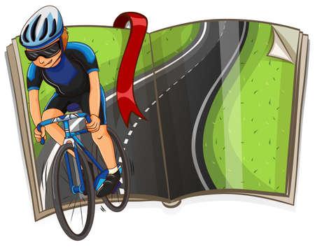 Boek met fietser rijden op de wegillustratie Stockfoto - 68928179
