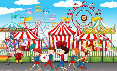 Muchos niños en la ilustración de carnaval