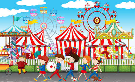 Many children at the carnival illustration Illustration