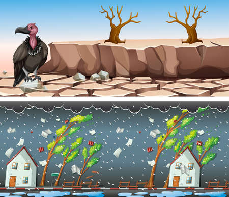 Two scenes with drought and rainstorm illustration