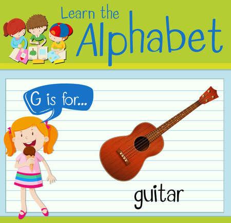 g string: Flashcard letter G is for guitar illustration Illustration