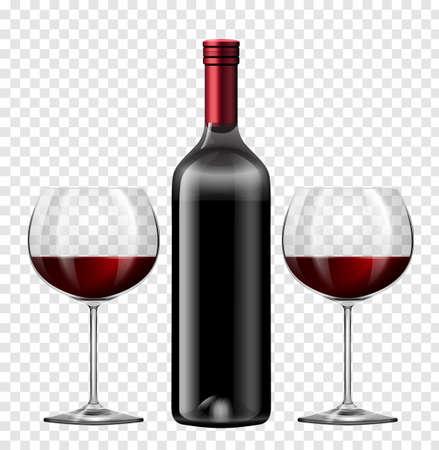 vinho: Dois copos de vinho tinto e uma garrafa de vinho ilustração Ilustração