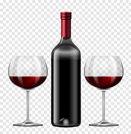 Two glasses of red wine and bottle of wine illustration