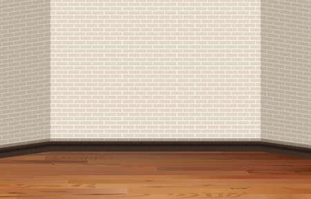 Bakstenen muur en houten vloer illustratie