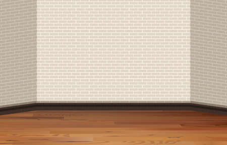 building bricks: Brick wall and wooden floor illustration