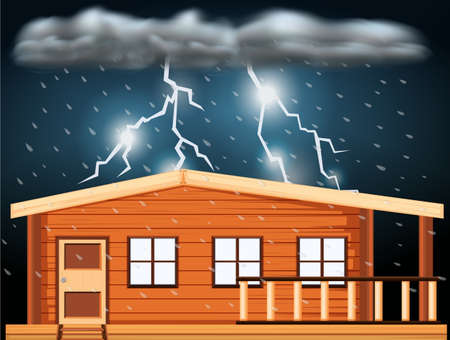 thunderstorms: Scene with thunderstorms over the house illustration