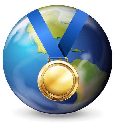 gold earth: Gold medal on earth illustration