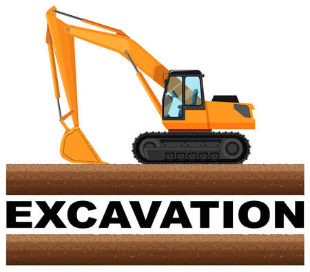 excavation: Excavation truck at the field illustration