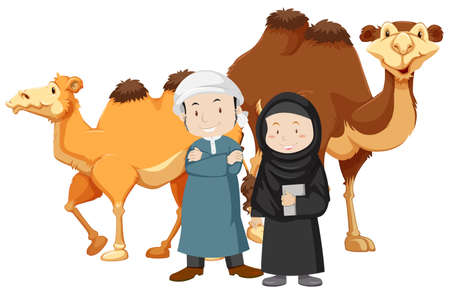 Two islam people and camels illustration
