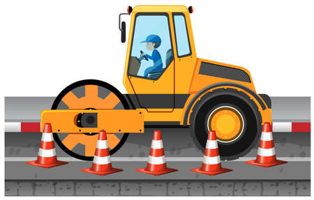 road roller: Man driving road roller on the road illustration