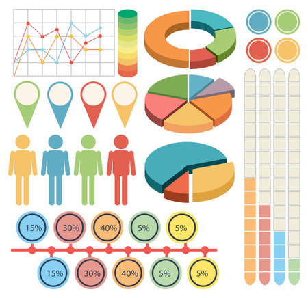 four people: Infographic with people and graphs in four colors illustration Illustration
