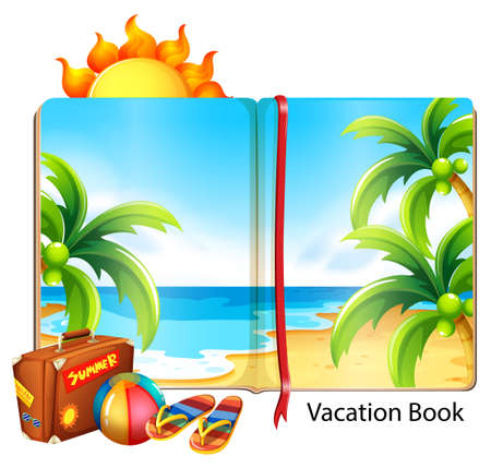 Vacation on the beach theme in the book illustration