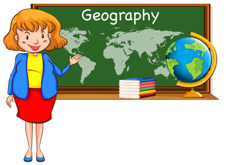 geography: Geography teacher and world map on the board illustration