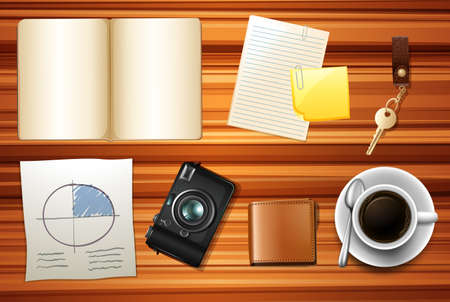 Book and other accessories on wooden table illustration