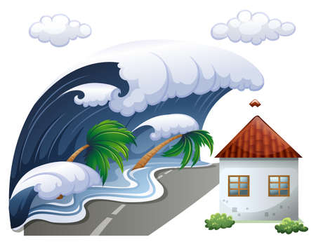 disaster: Tsunami scene with big waves and house illustration