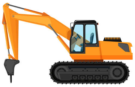 Tractor with drilling head illustration