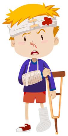 Jongen met gebroken been en arm illustratie