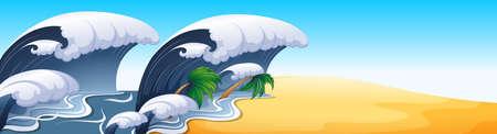 sea disaster: Ocean scene with big waves illustration Illustration