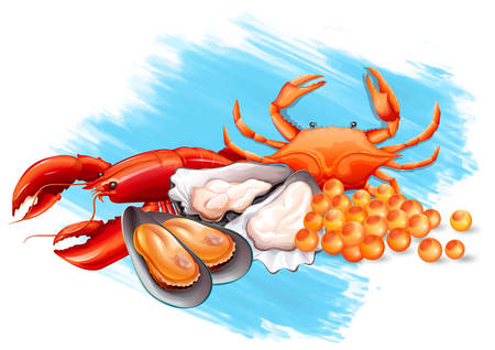 fresh seafood: Different kinds of fresh seafood illustration