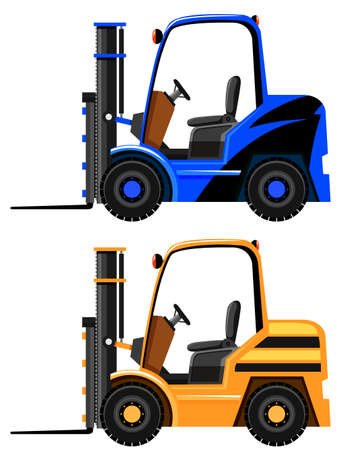 Forklifts in two different colors illustration