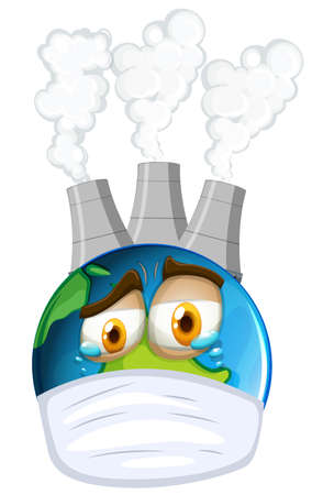 industrail: Environmental theme with earth and air pollution illustration Illustration