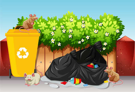Scene with trash bags and rats illustration