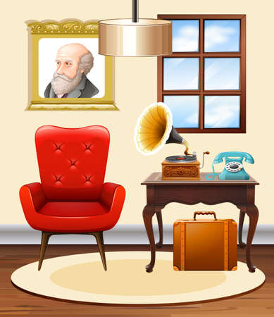 Room with red chair and gramophone illustration Illustration