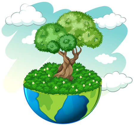 clouds: Green tree on blue planet illustration