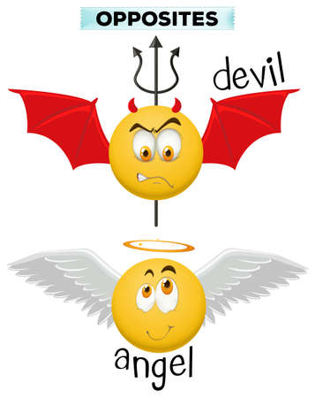 angry angel: Opposite words with devil and angel illustration