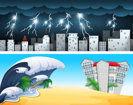 Two disaster scenes with tsunami and thunders illustration