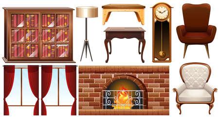 table decor: Different types of furnitures illustration Illustration