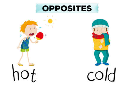 Opposite words for hot and cold illustration Vectores