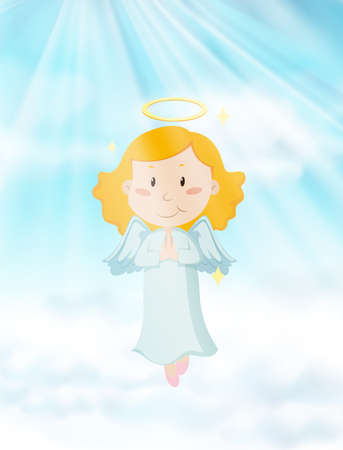 religious backgrounds: Angel flying in the heaven illustration