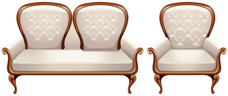 Armchair with white leather illustration Illustration