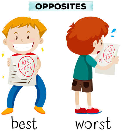 Opposite words for best and worst illustration Illustration