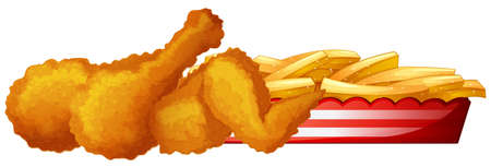 Fried chicken with frenchfries illustration