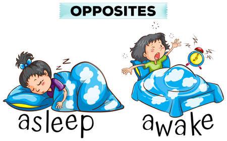 Opposite words for asleep and awake illustration