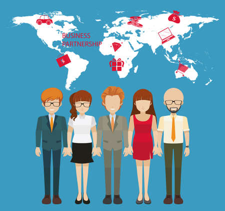 Infographic with people and business partnership illustration