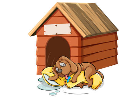 doghouse: Dog sleeping in the doghouse illustration