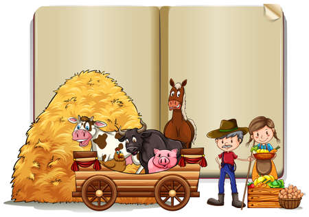 lady cow: Farmers and animals in the book template illustration