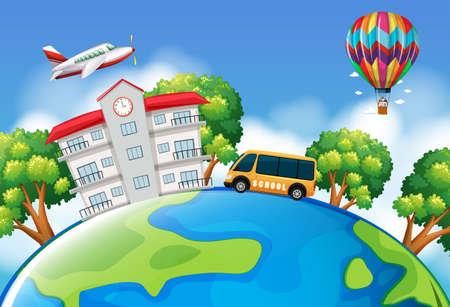 schoolbus: Schoolbus and building on earth illustration