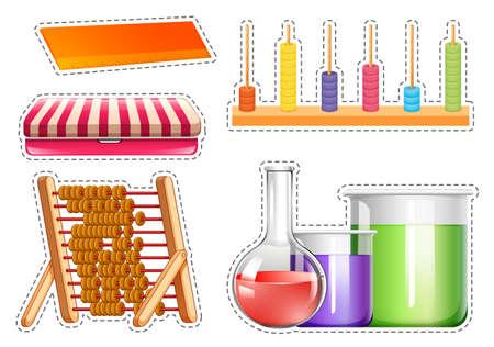 Different school equipments sticker set illustration