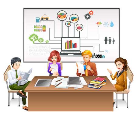 business meeting computer: Business people working at desk illustration Illustration
