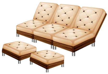 stool: Sofa with leg stool illustration Illustration