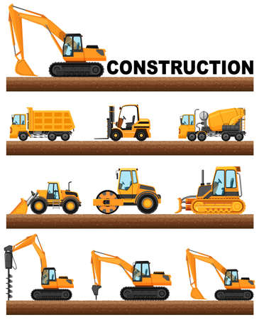 steamroller: Different types of construction trucks on the ground illustration