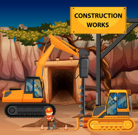 mine site: Construction works scene with driller and bulldozer illustration