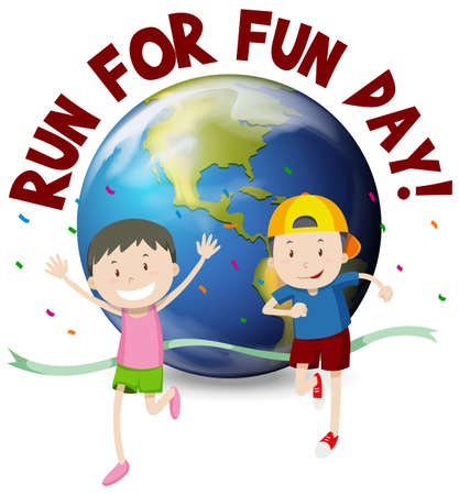 Two runners running in race illustration Illustration